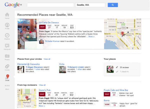 Google Local search page
