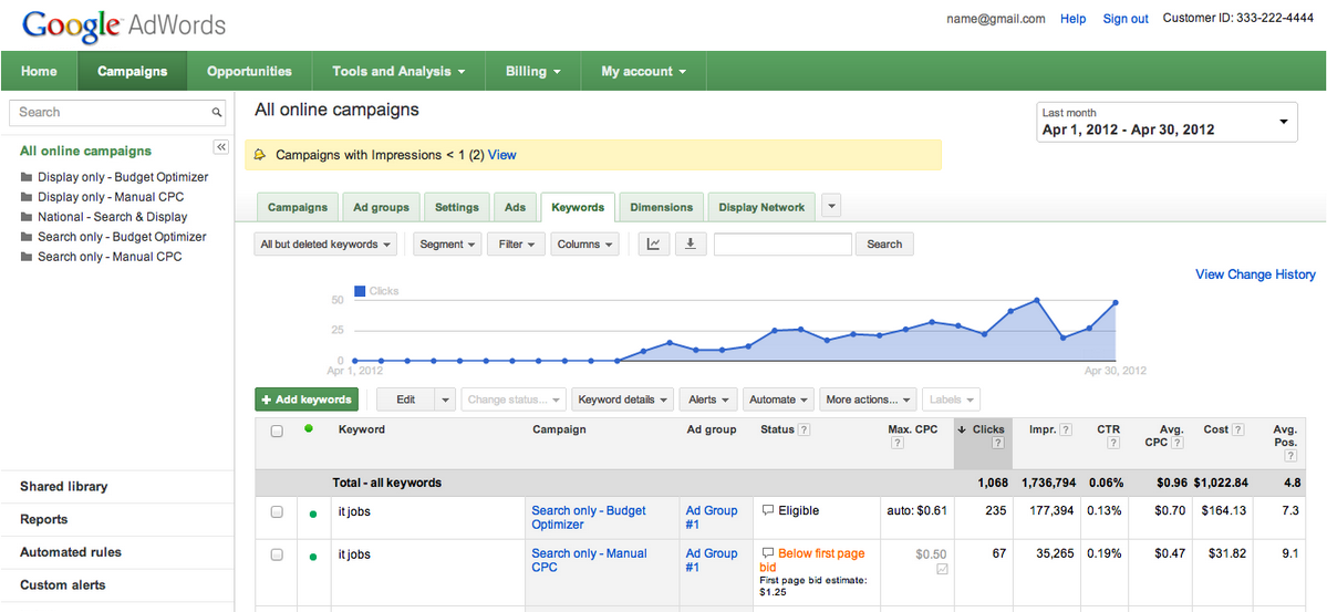 adwords new look