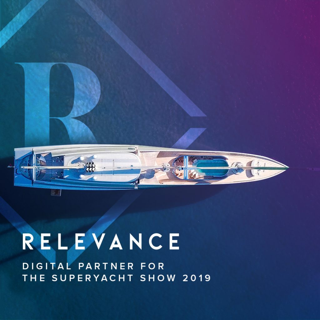 A yacht from above, noting LYBRA's partnership with Relevance for The Superyacht Show